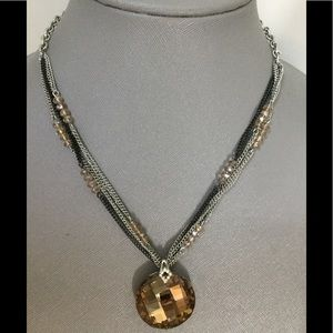 Beautiful statement necklace.  Amber crystal.